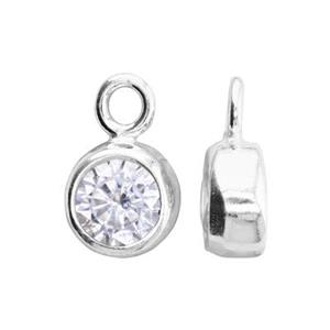 SKB4APR: 5x8.6mm Bezel April Birthstone Charm, 4mm CZ, 1.5mm Closed Ring ID