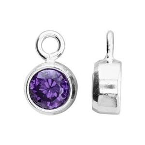 SKB4FEB: 5x8.6mm February Bezel Birthstone Charm, 4mm Amethyst CZ, 1.5mm Closed Ring ID