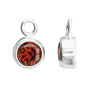 SKB4JAN: 5x8.6mm January Bezel Birthstone Charm, 4mm Garnet CZ , 1.5mm Closed Ring ID