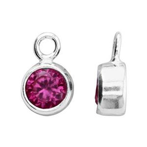 SKB4JUL: 5x8.6mm July Bezel Birthstone Charm, 4mm Ruby CZ, 1.5mm Closed Ring ID