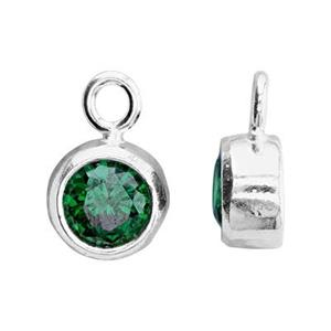 SKB4MAY: 5x8.6mm May Bezel Birthstone Charm, 4mm Emerald CZ, 1.5mm Closed Ring ID