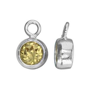SKB4NOV: 5.3x8.6mm November Bezel Birthstone Charm, 5mm Citrine CZ, 1.5mm Closed Ring ID