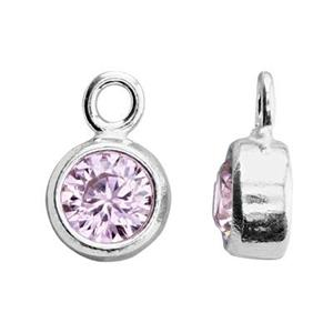 SKB4OCT: 5x8.6mm October Bezel Birthstone Charm, 4mm Rose CZ, 1.5mm Closed Ring ID