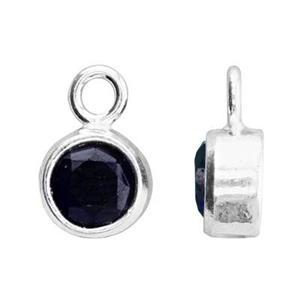 SKB4SEP: 5x8.6mm September Bezel Birthstone Charm, 4mm Sapphire CZ, 1.5mm Closed Ring ID