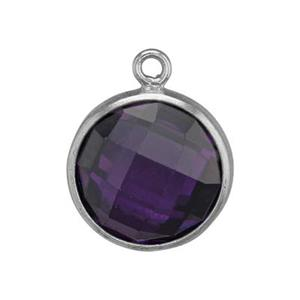 SKU58ACZ: Two Sided Checkerboard Charm with Amethyst CZ