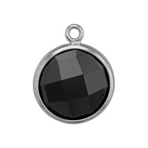 SKU58BCZ: Two Sided Checkerboard Charm with Black CZ