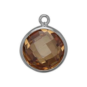 SKU58CCZ: Two Sided Checkerboard Charm with Champagne CZ