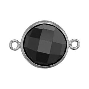 SKU78BCZ: Two Sided Checkerboard Link with Black CZ