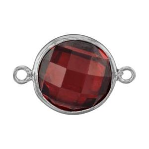 SKU78RCZ: Two Sided Checkerboard Link with Red CZ