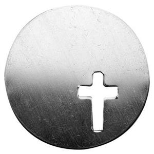 SL782: Silver Cross Cutout Circle Blank for Hand Stamping