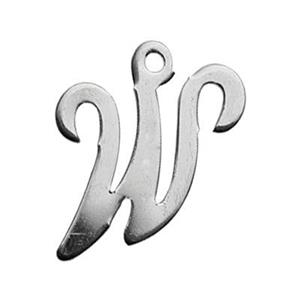 SLW: Sterling Silver Letter W Charm