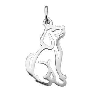 SN113: Sterling Silver Dog Cutout Charm