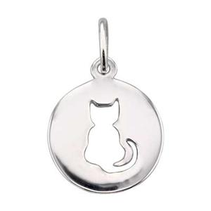 SN116: Sterling Silver Cat Cutout Circle Charm