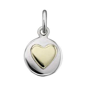 SN170: Sterling Silver Layered Circle Tag with Bronze Heart Accent