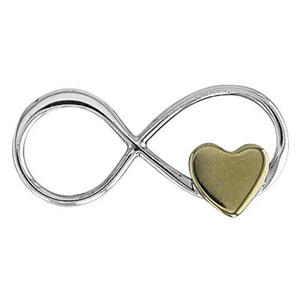 SN299: 19.1x9.1mm Infinity with 5.5x5.1mm Brass Heart Link