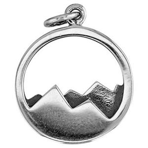 SN321: Sterling Silver Mountain Range Round Charm
