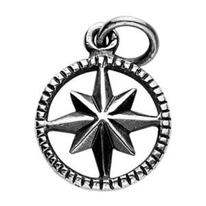 SN328: Sterling Silver starburst Compass Charm