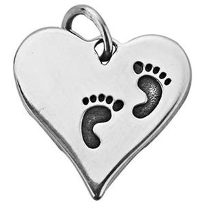 SN388: Silver Heart Pendant with Baby Footprints