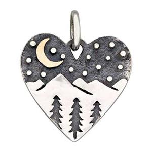 SN406: Sterling Silver Mountains and Bronze Moon Heart Pendant