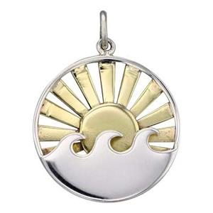 SN481: Sterling Silver Layered Waves and Bronze Sun Round Pendant