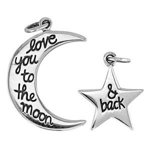 SN524: Silver Moon and Back Charm Set
