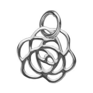 SN565: Silver Rose Silhouette Charm