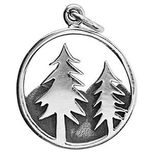 SN651: Silver Pine Trees in the Mountains Charm and Pendant
