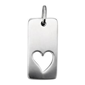 SN700: Sterling Silver Rectangle with Heart Cutout Tag Charm