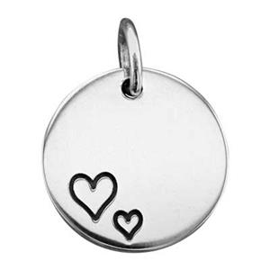 SN741: Sterling Silver Circle Blank with Oxidized Hearts Imprint
