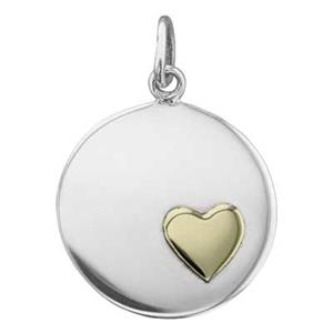 SN743: Sterling Silver Layered Blank Tag with Bronze Heart Accent