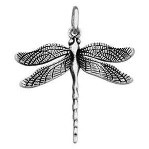 SN8106: Sterling Silver Large Detailed Dragonfly Charm