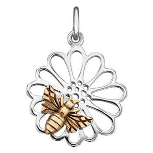 SN8120: Sterling Silver Daisy Charm with Bronze Bee