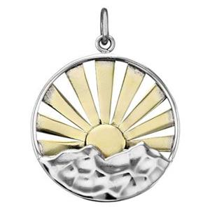 SN8123: Sterling Silver Mountain Range with Bronze Sun Rays Pendant
