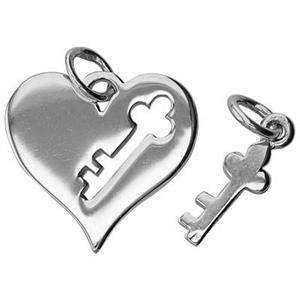SN878: Sterling Silver Heart Cutout Charm with Key Dangle