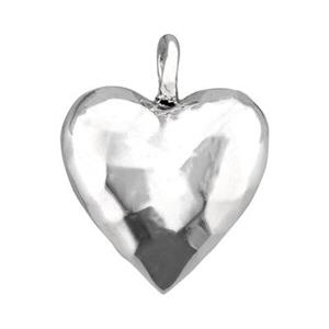 SN880: Sterling Silver Hammered Puff Heart Charm