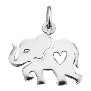 SN893: Sterling Silver Elephant Charm with Heart Cutout