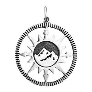 SN903: Sterling Silver Mountain Range Compass Pendant