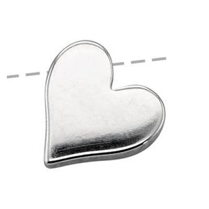 SN987: Large Heart Bead, Diagonal Closed Hole ID.