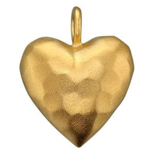 SNG435: Matte Hammer Puff Heart Charm, Closed Ring ID