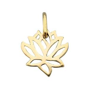 SNGS564: Gold Plated Sterling Silver Lotus Outline Charm