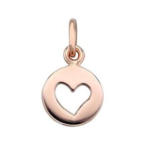 SNRG283: Rose Gold Plated Sterling Silver Heart Cutout Charm