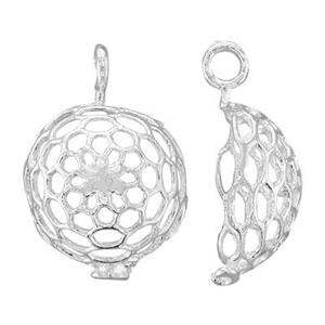 SQ137: Sterling Silver Half Round Cage Link