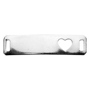 SQ484: Silver ID Bar Blank with Heart Cutout