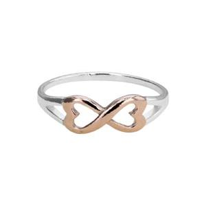 SR287: 1.2mm Infinity Ring, 11.5x5.8mm Rose Gold Plated Sterling Infinity Heart Outline, Size 7