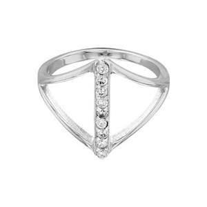 SR367CZ: 2mm Rhodium Plated Open Triangle CZ Finger Ring, Size 7, nine 1.5mm CZ Stones
