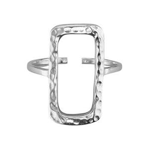 SR5827: Adjustable Open Hammer Rectangle Finger Ring
