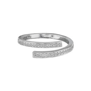 SR696: Sterling Silver Adjustable CZ Wrap Finger Ring