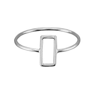 SR7158: Sterling Silver Open Rectangle Finger Ring