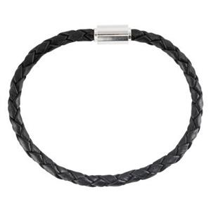 SRL48B: Sterling Silver Black Braided Leather Bracelet