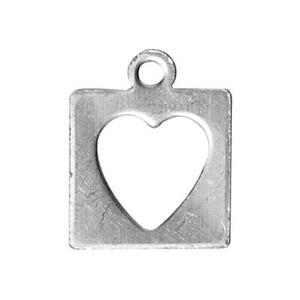 ST423: Sterling Silver Heart Cutout Square Charm